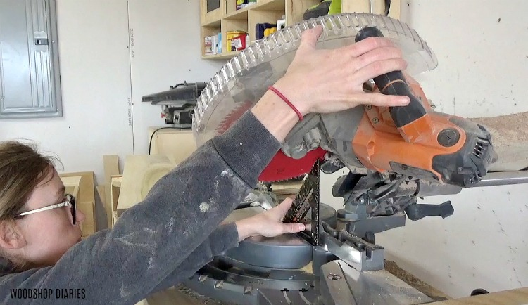 Set miter saw to 45 degrees